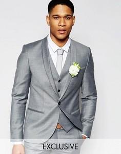 Фланелевый пиджак на свадьбу суперзауженного кроя Noak - Серый