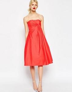 Платье миди для выпускного со складками ASOS Premium - Красный
