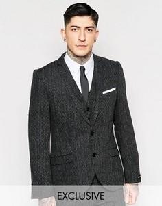 Пиджак зауженного кроя с шевронным узором Heart & Dagger - Серый