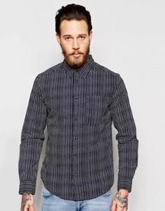 Рубашка классического кроя с принтом в полоску и длинными рукавами Wrangler - Синий