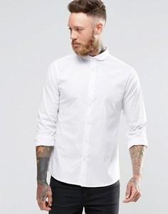 Эластичная зауженная рубашка с закругленным воротником Noose & MonkeyMonkey - Белый