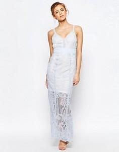 Платье макси из тонкого кружева Boohoo - Синий