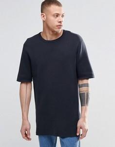 Удлиненная футболка из ткани пике с круглым вырезом ADPT - Темно-синий