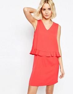 Платье с V-образным вырезом и оборками Paisie - Розовый