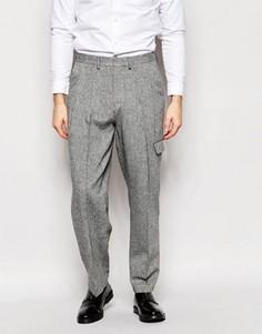 Строгие серые брюки из твида с широкими штанинами ASOS - Серый