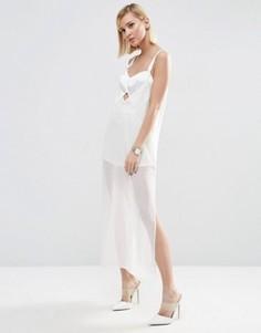 Платье миди на бретельках с боди ASOS - Белый