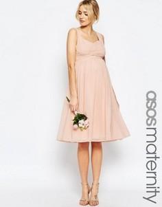 Присборенное платье миди со вставками ASOS Maternity WEDDING - Бежевый