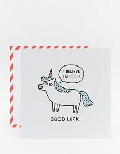 Открытка с единорогом и пожеланием удачи Ohh Deer Gemma Correll - Мульти