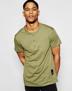 Зеленая футболка с горловиной на пуговицах G-Star Rinep - Зеленый