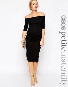Платье для беременных с укороченными рукавами ASOS Maternity PETITE - Черный