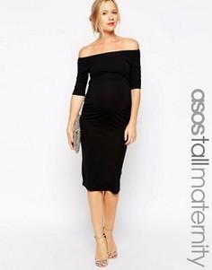 Платье бардо для беременных с укороченными рукавами ASOS Maternity TALL - Черный