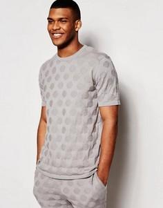Трикотажная футболка в крупный горошек ASOS - Серый