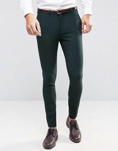 Суперузкие брюки стретч Selected Homme - Зеленый