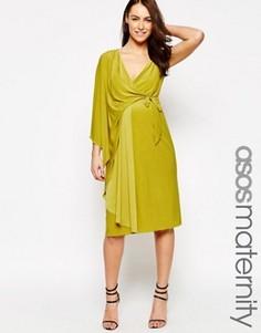 Асимметричное платье миди на одно плечо с запахом ASOS Maternity - Зеленый