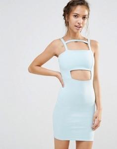 Облегающее платье с вырезом Boohoo - Синий