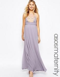Платье макси для беременных с кружевной накладкой ASOS Maternity - Фиолетовый