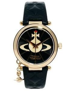 Часы с кожаным ремешком и подвеской-орбитой Vivienne Westwood VV006BKGD - Черный