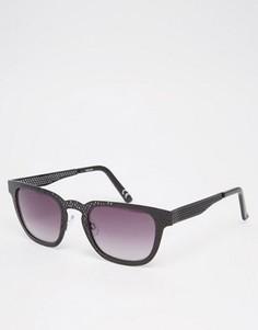 Квадратные солнцезащитные очки с оправой из черного металла с перфорацией ASOS - Черный