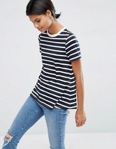 Свободная футболка в полоску ASOS - Темно-синий