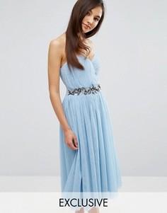 Платье-бандо миди с отделкой и юбкой из тюля Little Mistress - Синий