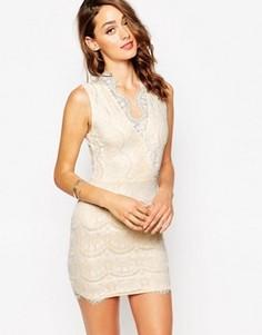Кружевное платье мини с запахом Sistaglam Myra - Бежевый