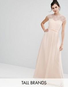 Платье макси c кружевной вставкой Little Mistress Tall - Розовый