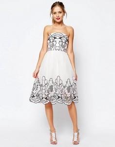 Платье-бандо миди из органзы ASOS SALON - Кремовый