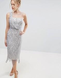 Кружевное платье миди с фигурной отделкой по подолу Little Mistress - Серебряный
