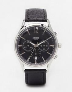 Часы с хронографом и кожаным ремешком Henry London Edgware - Черный