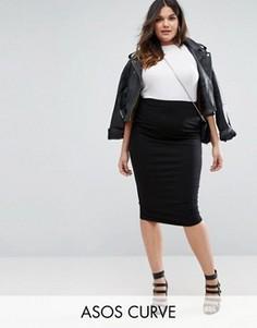 Трикотажная юбка-карандаш миди ASOS CURVE - Черный
