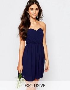 Шифоновое платье‑бандо мини TFNC WEDDING - Темно-синий