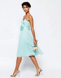 Шифоновое платье бандо миди ASOS WEDDING - Розовый