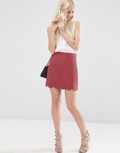 Мини юбка‑трапеция с фигурным краем ASOS - Фиолетовый