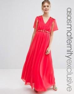 Платье макси для беременных с отделкой ASOS Maternity - Красный