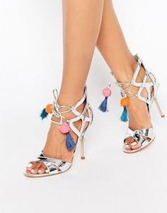 Серебристые сандалии на каблуке с кисточками Sam Edelman Azela - Серебряный