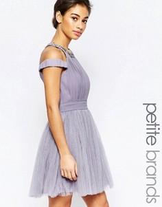 Платье для выпускного с открытыми плечами и отделкой Little Mistress Petite - Фиолетовый