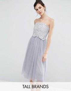 Платье миди бандо для выпускного Little Mistress Tall - Серый