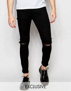 Черные джинсы скинни с рваными коленями Liquor & Poker - Черный