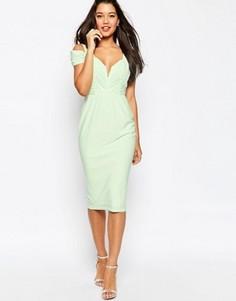 Платье-футляр миди с вырезами на плечах ASOS - Зеленый