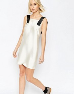 Атласное платье мини с бретельками ASOS WHITE - Кремовый