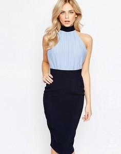Платье-футляр с лифом-блузой высокой горловиной Vesper - Синий