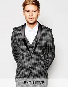 Приталенный пиджак в клетку Selected Homme Exclusive - Серый