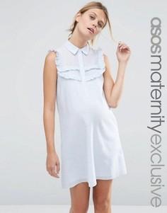 Полосатое платье‑рубашка для беременных с рюшами ASOS Maternity - Мульти