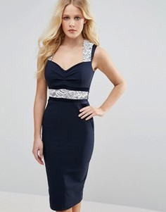 Платье-футляр с V-образным вырезом и кружевными вставками Vesper - Темно-синий