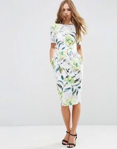 Фактурное облегающее платье с акварельным цветочным принтом ASOS - Мульти