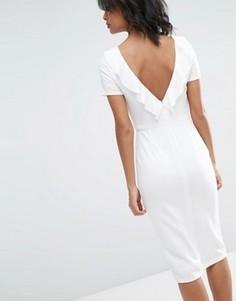 Платье миди с рюшами сзади ASOS - Кремовый