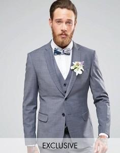 Стретчевый пиджак зауженного кроя на свадьбу Number Eight Savile Row - Серый
