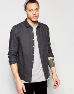 Серая льняная рубашка классического кроя ASOS Laundered - Серый
