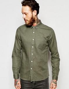 Льняная рубашка классического кроя с длинными рукавами ASOS Laundered - Зеленый