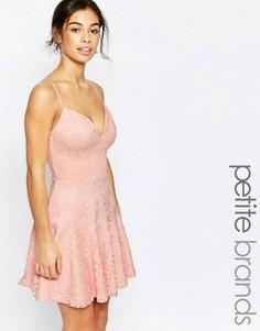 Кружевное платье для выпускного на бретельках John Zack Petite - Розовый